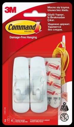 Крючки Command средние легкомонтируемые