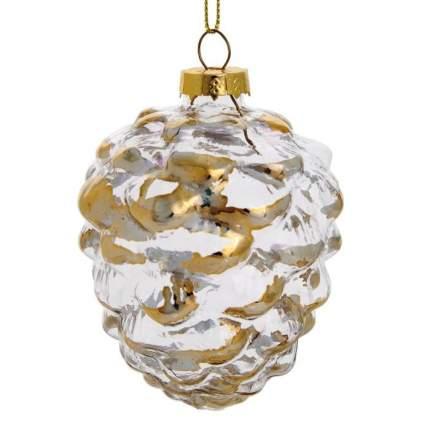 """Новогоднее подвесное украшение из стекла """"Шишка"""", 8,5x7,5x7,5 см"""