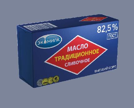 Сливочное масло Экомилк традиционное 82,5 % 450 г бзмж