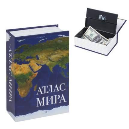 "Сейф-книга ""Атлас мира"", 55х115х180 мм, ключевой замок, BRAUBERG, 291051"