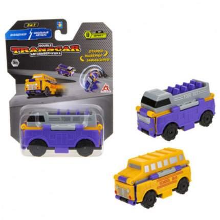Автовывернушки 1Toy Transcar 2 в 1 Даблдэккер. Школьный автобус, 8 см Т18282
