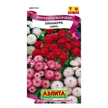 Семена цветов Аэлита Маргаритка махровая Хабанера смесь окрасок двулетник драже 10 шт.