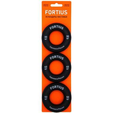 Набор кистевых эспандеров FORTIUS 3 шт. (30,40,50 кг)(черный)