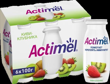 Кисломолочный напиток Actimel киви - клубника 2,5% 100 г бзмж