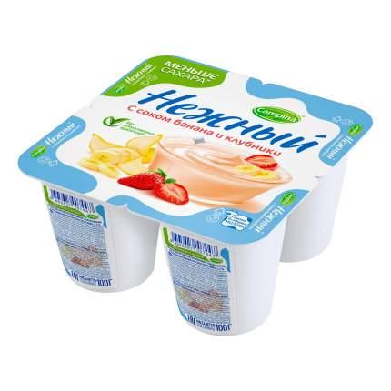 Йогуртный продукт Campina Нежный с соком банана и клубники 1,2% 100 г бзмж