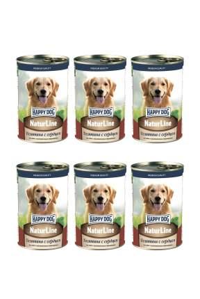 Консервы для собак Happy Dog , телятина с сердцем, 6шт, 410г