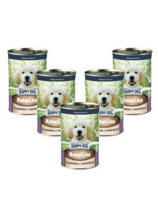 Консервы для щенков Happy Dog , телятина с сердцем, 5шт, 410г