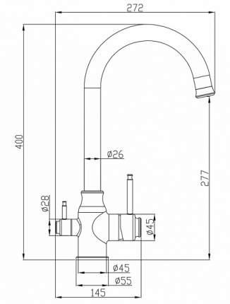Смеситель для кухни под фильтр Steel Hammer SH 763 INOX BRONZE PVD