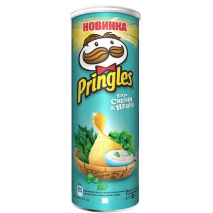 Чипсы картофельные Pringles сметана и зелень 165 г