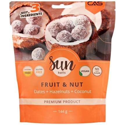 Шарики из орехов и сухофруктов Sun Balls финик-какао-фундук-кокос 144 г