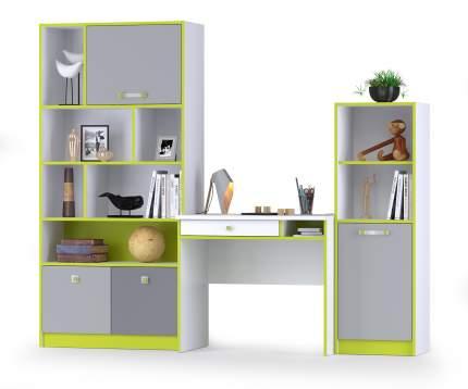 Стол со стеллажами Альфа № 12 лайм зеленый/белый премиум/стальной серый/темно-серый
