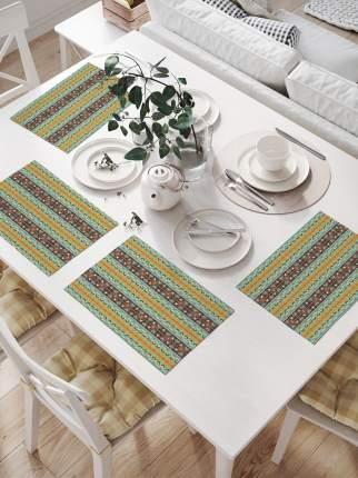 Салфетки для сервировки «Горизонтальные полосы с орнаментом» (32х46 см, 4 шт.)