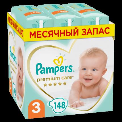 Подгузники Pampers Premium Care 3 (6-10 кг), 148 шт.