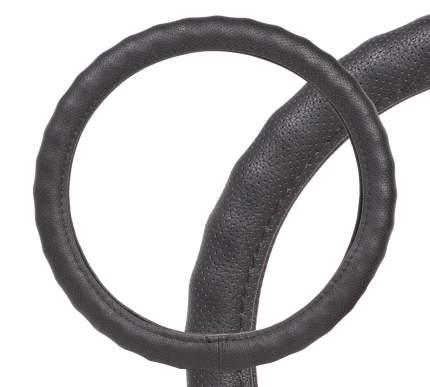 Оплетка на руль, перфорированная кожа, ребристая, черная, 37-39 см/М AIRLINE AWC-RS-13M