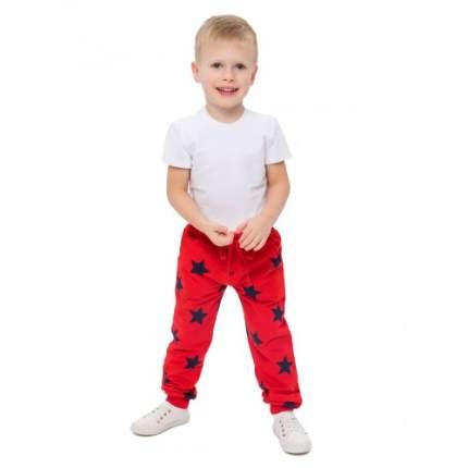 Брюки спортивные для мальчиков с рис.звезды KIDAXI, цв. красный, р-р 122