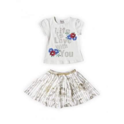 Комплект для девочек текстильный Футболка+Юбка BIDIRIK, цв. бежевый, р-р 98
