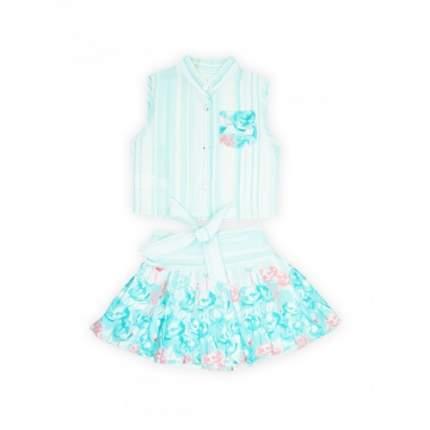 Комплект для девочек текстильный Блузка+Юбка VERSCON, цв. зеленый, р-р 98