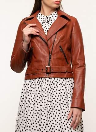 Кожаная куртка женская Imperiafabrik 45899 оранжевая 44 RU