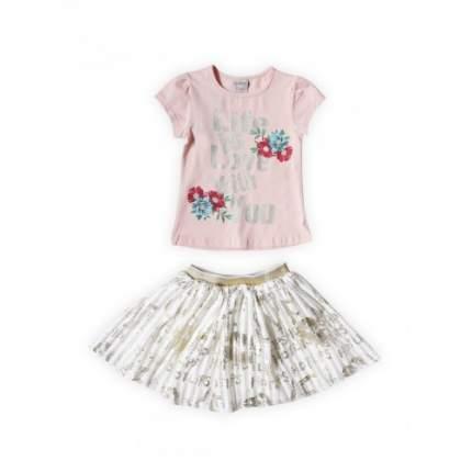 Комплект для девочек текстильный Футболка+Юбка BIDIRIK, цв. розовый, р-р 98