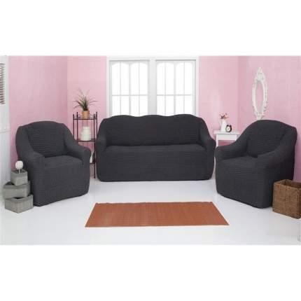 Комплект чехлов на диван и кресла без оборки CONCORDIA, темно-серый, 3 предмета