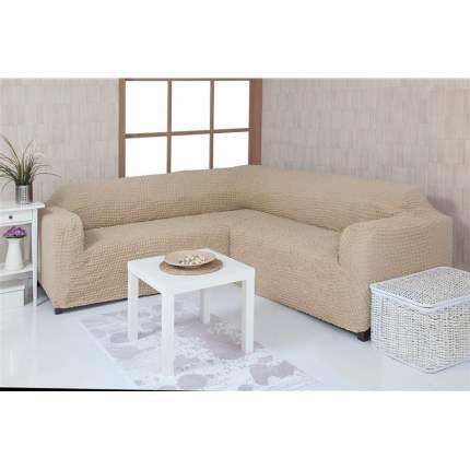 Чехол на угловой диван без оборки Venera, кремовый