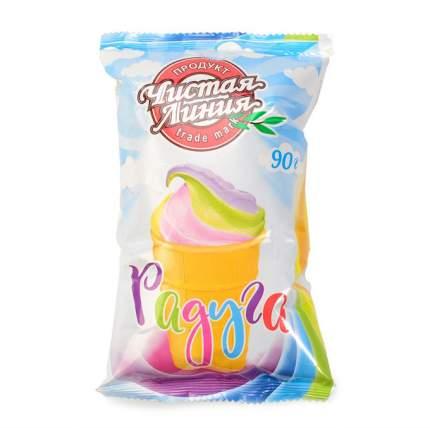 Мороженое Чистая линия пломбир радуга в вафельном стаканчике 90 г