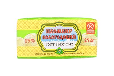 Мороженое Пломбир Вологодский брикет 250 г