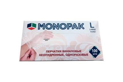 Перчатки виниловые прозрачные Monopak L 100 шт 50 пар