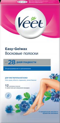 Полоски для депиляции Veet Для чувствительной кожи 12 полосок + 2 салфетки