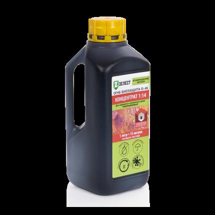 Огне-биозащита для древесины ЗЕЛЕСТ О-4К-01 ОгнеКонцентрат, ж/к, 1 л (концентрат)
