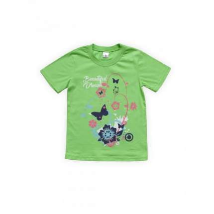 Футболка для девочек Салатовая Веселый Супер Зайчонок, цв. зеленый, р-р 128