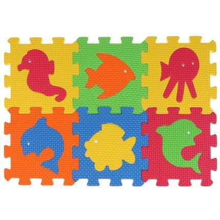 Коврик-пазл Играем Вместе Любимые герои Животные, 6 сегментов