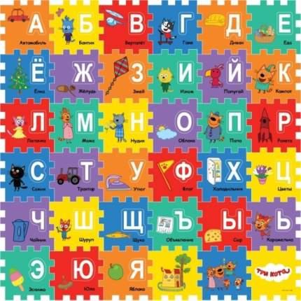 Коврик-пазл Играем Вместе Три кота с вырезанными буквами, 6 сегментов
