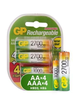 Аккумуляторная батарея GP АА (HR06) 2700 мАч, 4 шт + ААА (HR03) 1000 мАч, 4 шт