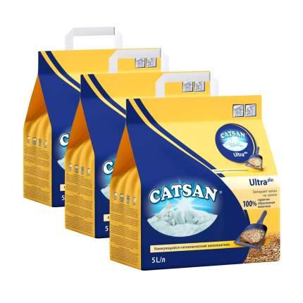 Комкующийся наполнитель для кошек Catsan 9572 Ультра глиняный, 2.6 кг, 5 л, 3шт