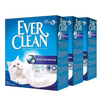 Комкующийся наполнитель для кошек Ever Clean Multi Crystals глиняный, 10 кг, 10 л, 3шт