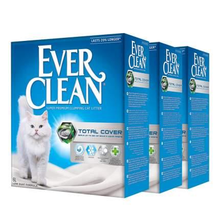 Комкующийся наполнитель для кошек Ever Clean Total Cover глиняный, 6 кг, 6 л, 3шт
