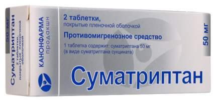 Суматриптан Канон таблетки, покрытые пленочной оболочкой 50 мг №2