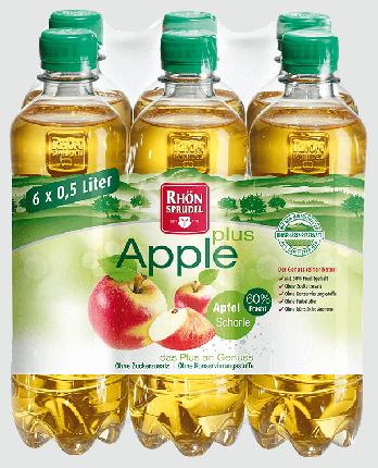 Минеральная вода с яблочным соком без сахара Rhon Sprudel «Apple Plus» 0.5 л, 6 шт