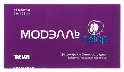 Модэлль Пьюр таблетки, покрытые оболочкой 2 мг+0,035 мг №63