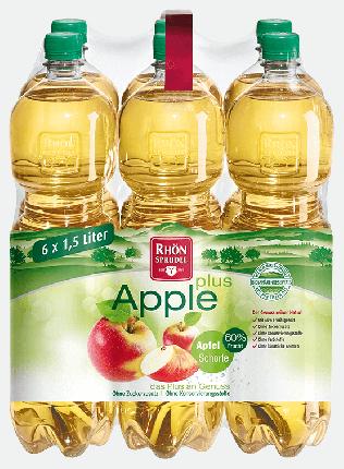 Вода минеральная Rhon Sprudel «Apple Plus» с яблочным соком без сахара  1.5 л 6 шт