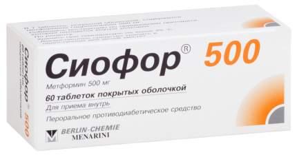 Сиофор 500 таблетки, покрытые пленочной оболочкой 500 мг №60