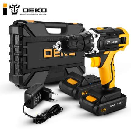 Аккумуляторная дрель + набор 63 инструментов в кейсе DEKO DKCD16FU-Li 063-4099