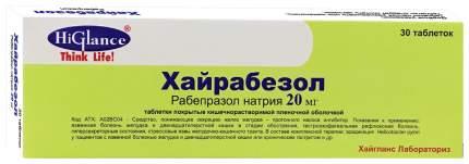 Хайрабезол таблетки, покрытые пленочной оболочкой кишечнораств.20 мг №30