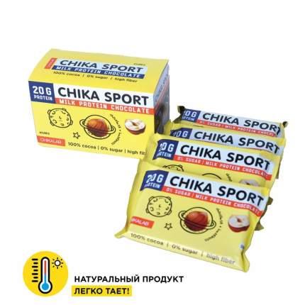 Шоколад Молочный с фундуком без сахара Chikalab 100 гр (коробка 4 штуки)