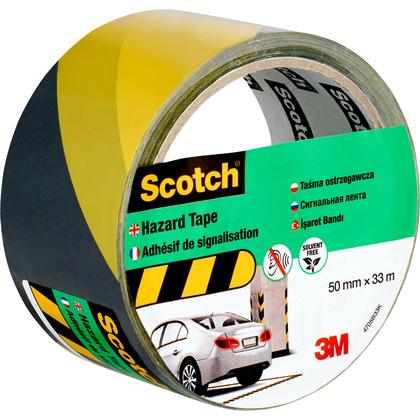 Лента cигнальная Scotch 4705BY, черно-желтая, 50 мм х 33 м х 0.15 мм