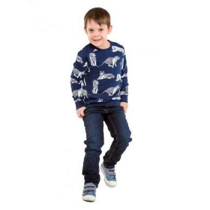 Джемпер трикотажный для мальчиков с рис. Тигра KIDAXI, цв. синий, р-р 110