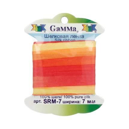 """Тесьма декоративная """"Gamma"""", шелковая, цвет: M232 желтый/красный, арт. SRM-7"""