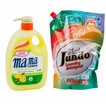 Гель для посуды Mama Lemon лимон 1 л и гель для стирки цветного белья Jundo Color 1.2 л