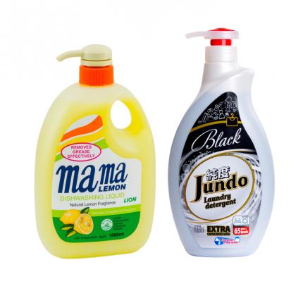 Гель для мытья посуды Mama Lemon лимон 1 л и гель для стирки черного белья Jundo Black 1 л